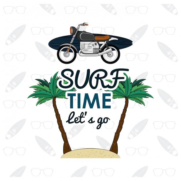 Cartão de tempo de surf Vetor Premium