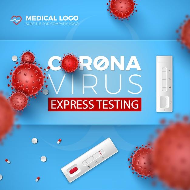 Cartão de teste coronavirus express. covid-19 testes rápidos e células de vírus 3d vermelho sobre fundo azul. doença de coronavírus 2019, projeto de ilustração de exame de sangue. Vetor Premium
