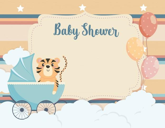 Cartão de tigre bonito na carruagem e balões Vetor grátis