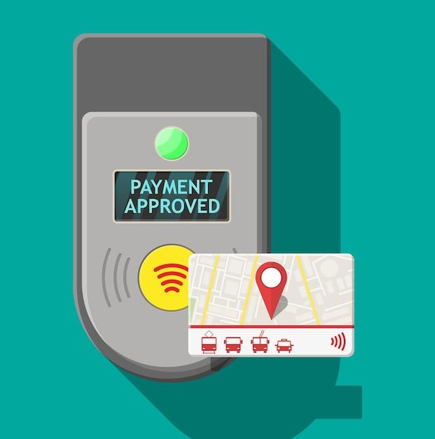 Cartão de transporte próximo ao terminal. validador de terminal de bilhetes de aeroporto, metrô, ônibus e metrô. Vetor Premium