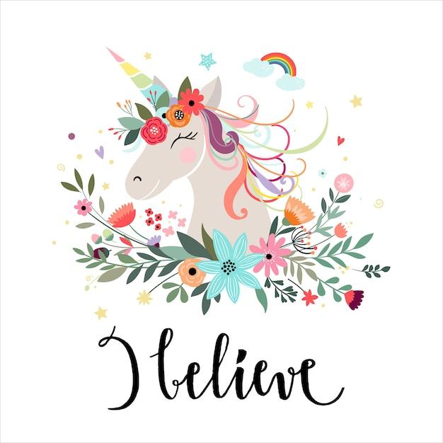 Cartão de unicórnio com elementos de mão desenhada Vetor Premium