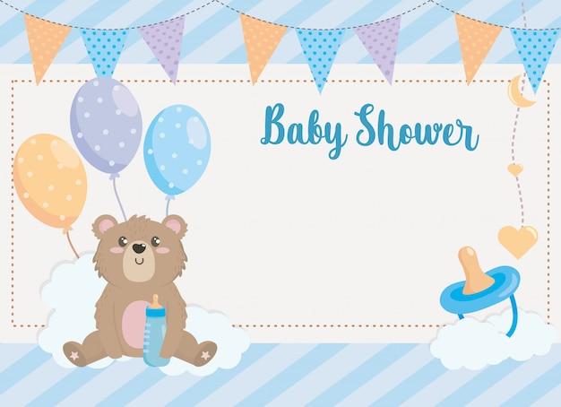 Cartão de urso de pelúcia com banner de festa e chupeta Vetor grátis