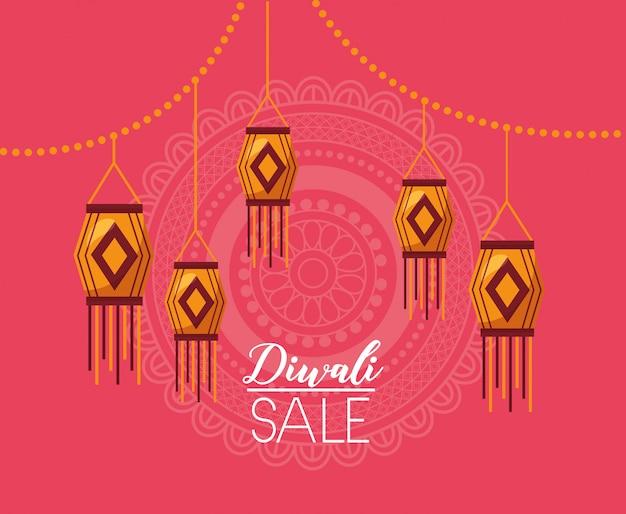 Cartão de venda de diwali com lâmpadas penduradas celebração Vetor grátis