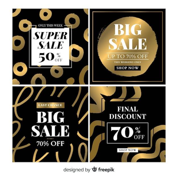 Cartão de venda de preto e ouro Vetor grátis