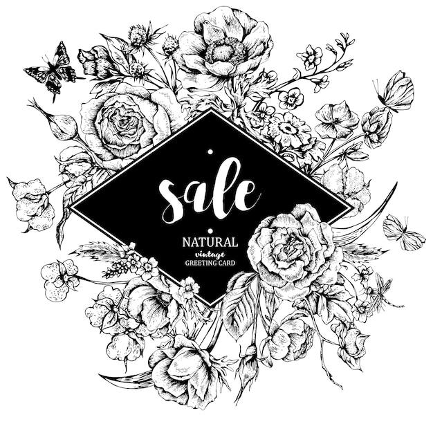 Cartão de venda vector floral vintage com rosas, anêmonas e butterf Vetor Premium