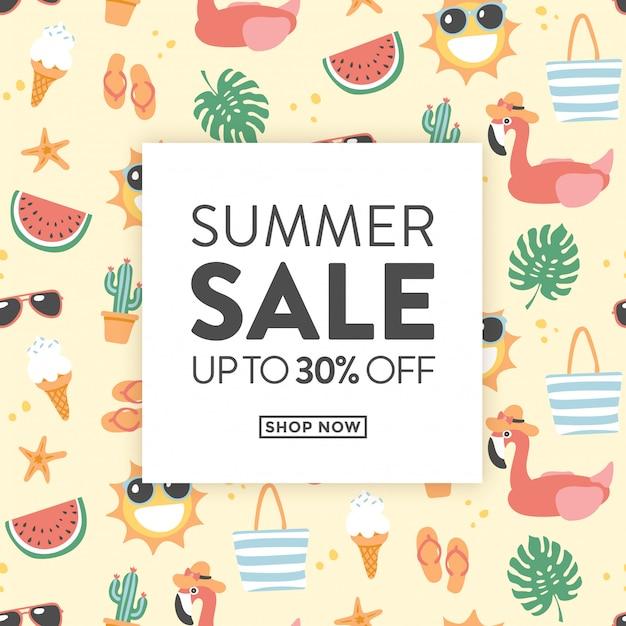 Cartão de venda verão com ilustrações de verão bonito ideal para lojas com produtos promocionais para o verão Vetor Premium