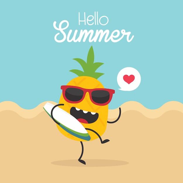 Cartão de verão vintage com abacaxi de vetor, prancha de surf e óculos de sol Vetor Premium