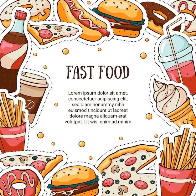 Cartão de vetor de fast-food com espaço reservado para texto Vetor Premium
