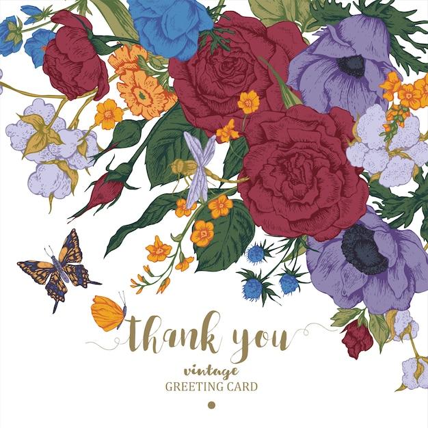 Cartão de vetor floral vintage com rosas, anêmonas e borboleta Vetor Premium