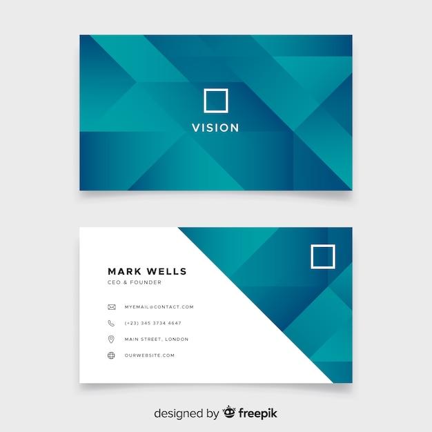 Cartão de visita abstrato formas duotone gradiente Vetor grátis