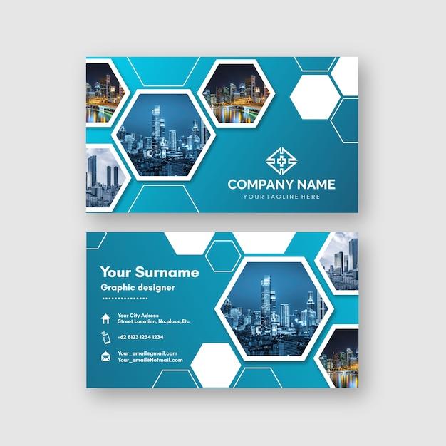 Cartão de visita abstrato modelo com imagem Vetor grátis