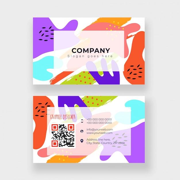 Cartão de visita abstrato ou design de cartão de visita na frente e nas costas Vetor Premium