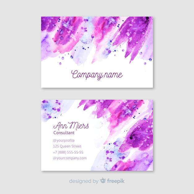 Cartão de visita abstrato roxo da aguarela Vetor grátis