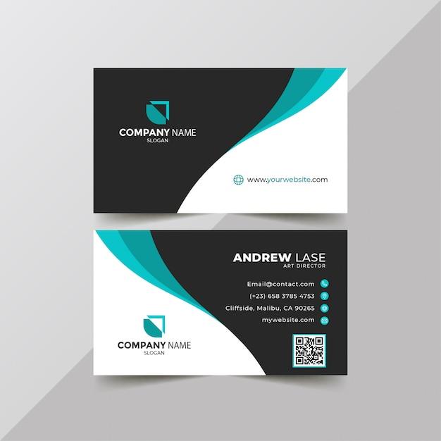 Cartão de visita azul elegante Vetor Premium