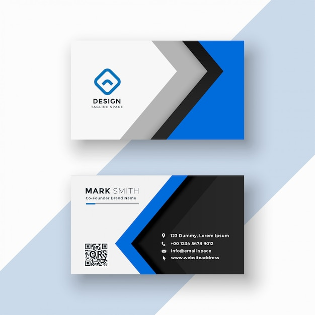 Cartão de visita azul profissional elegante Vetor grátis
