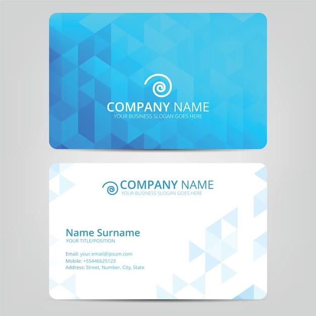 Cartão de visita azul Vetor Premium