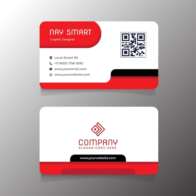 Cartão de visita branco vermelho luxuoso com código qr Vetor Premium