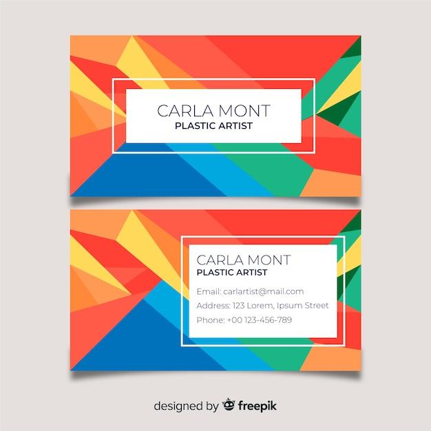 Cartão de visita colorido abstrato do modelo Vetor grátis