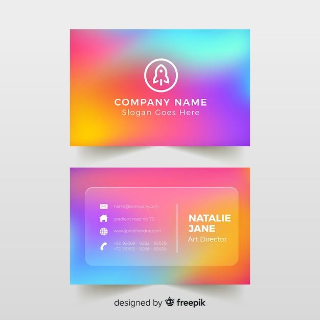 Cartão de visita colorido gradiente modelo Vetor grátis
