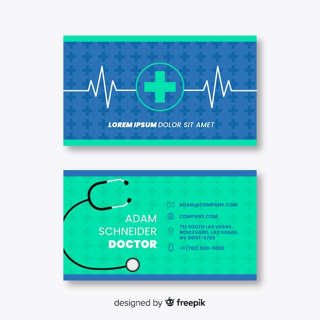 Cartão de visita com conceito médico em estilo profissional Vetor grátis
