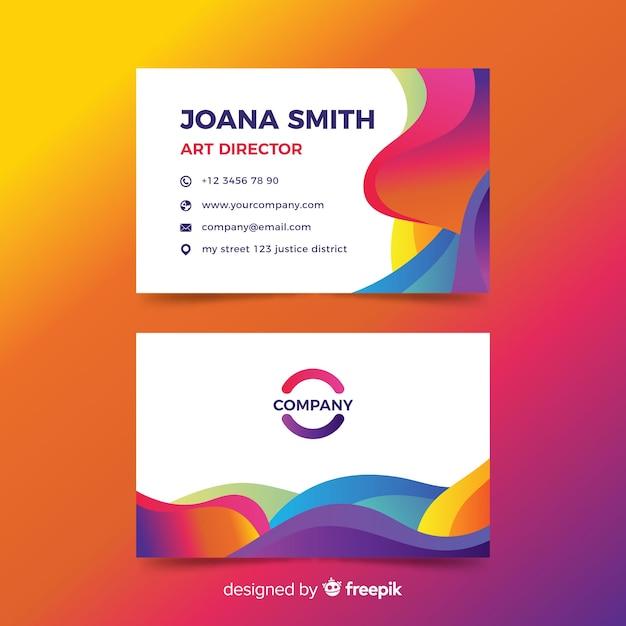 Cartão de visita com design abstrato Vetor grátis