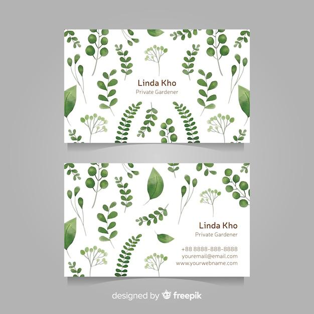 Cartão de visita com design de folhas Vetor grátis