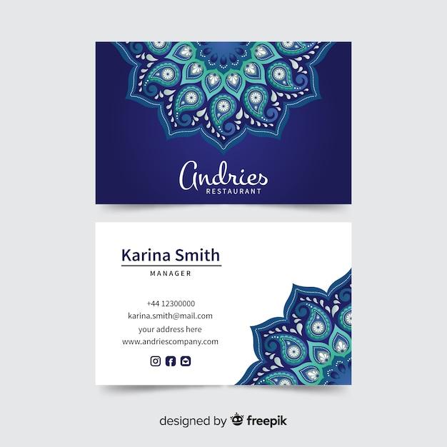 Cartão de visita com design de mandala Vetor grátis