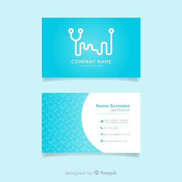 Cartão de visita com design médico em estilo plano Vetor grátis