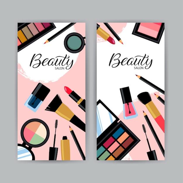 Cartão de visita com diferentes produtos cosméticos. Vetor Premium