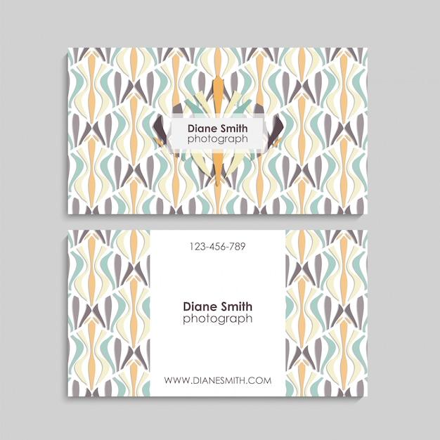 Cartão de visita com elementos abstratos. Vetor Premium