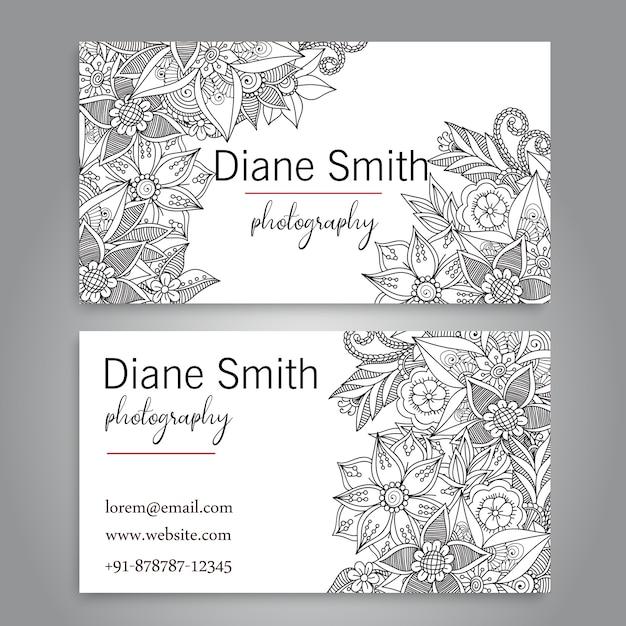 Cartão de visita com flores bonitas. Placa Vetor Premium