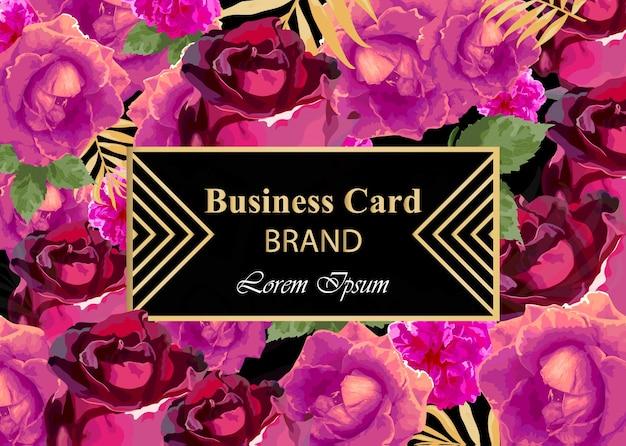 Cartão de visita com flores de rosa de aguarela. composição abstrata fundos de design moderno Vetor Premium