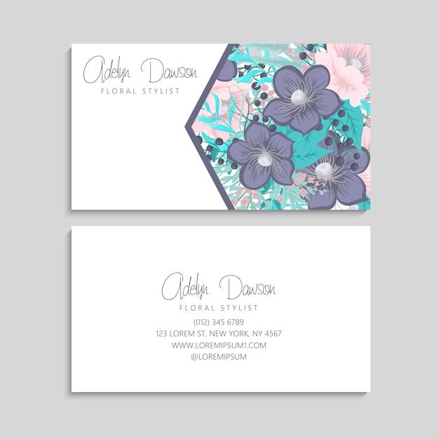Cartão de visita com flores rosa e menta. modelo Vetor grátis