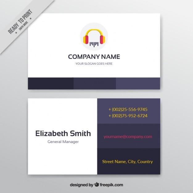 Cartão de visita com fones de ouvido para um estúdio de música Vetor grátis