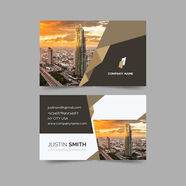 Cartão de visita com formas minimalistas e modelo de imagem Vetor grátis