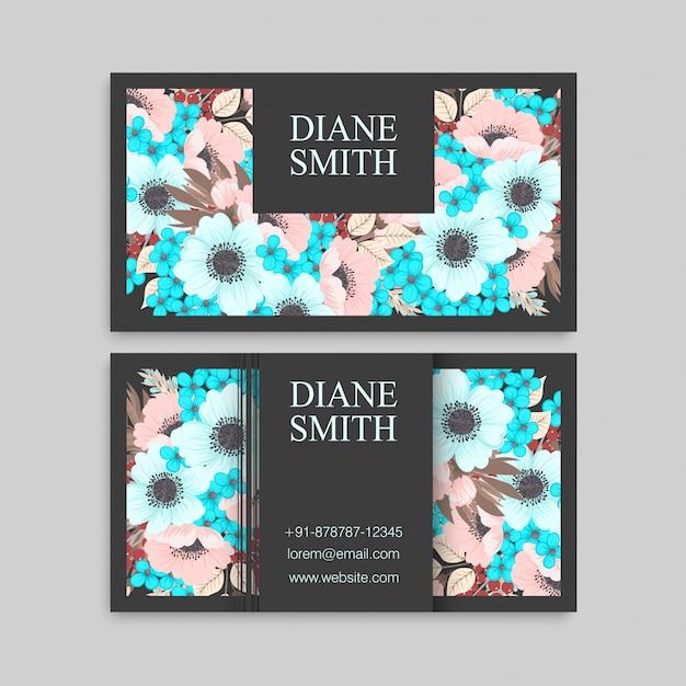 Cartão de visita com hortelã e flores cor de rosa Vetor grátis