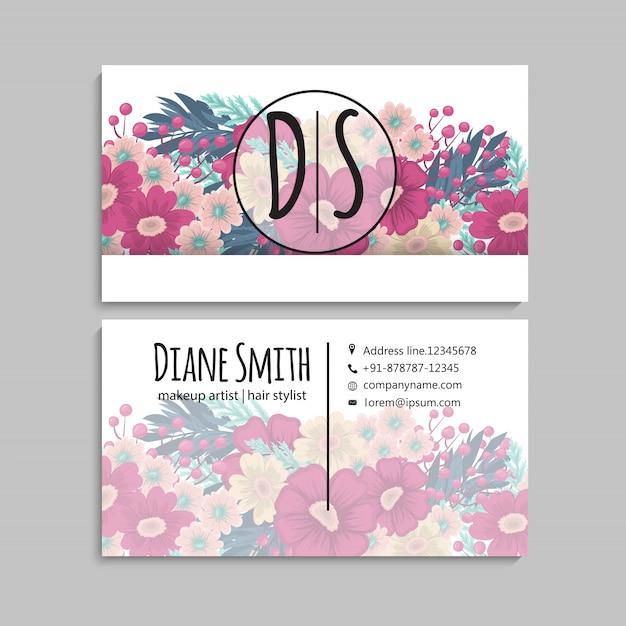 Cartão de visita com lindas flores cor de rosa Vetor grátis