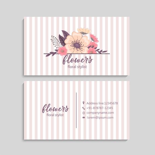 Cartão de visita com lindas flores. modelo Vetor Premium