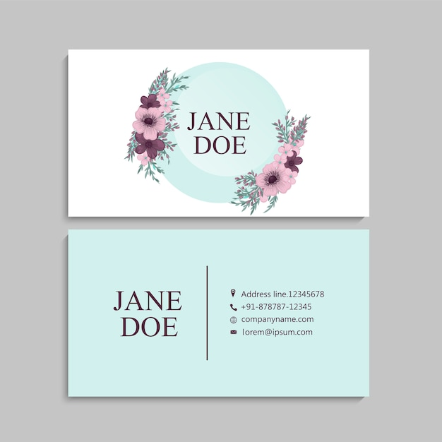 Cartão de visita com lindas flores. modelo Vetor grátis