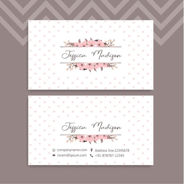 Cartão de visita com lindas flores. Vetor Premium
