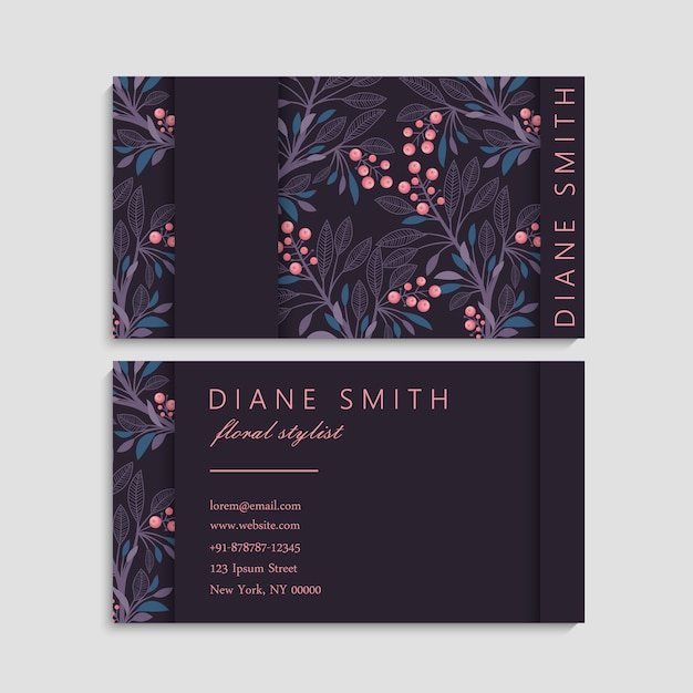 Cartão de visita com lindas flores Vetor grátis