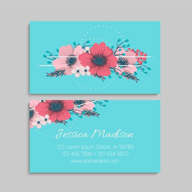 Cartão de visita com lindas flores Vetor Premium