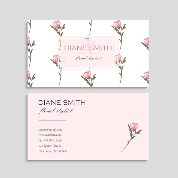 Cartão de visita com lindas flores. Vetor grátis