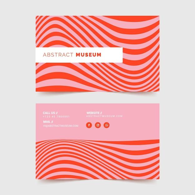 Cartão de visita com linhas distorcidas vermelhas Vetor grátis