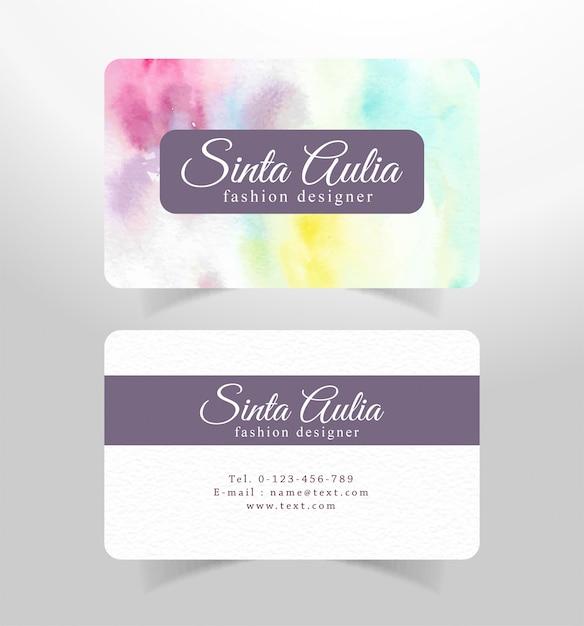 Cartão de visita com modelo aquarela de pinceladas coloridas Vetor Premium