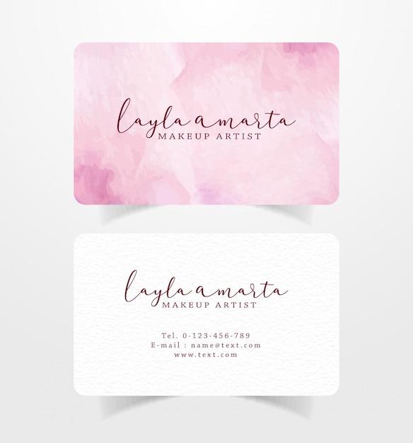Cartão de visita com modelo aquarela de pinceladas de rosa Vetor Premium