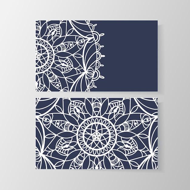 Cartão de visita com padrão floral moderno elegante. número de telefone e endereço, e-mail e informações sobre a personalidade da visita, ilustração vetorial Vetor grátis