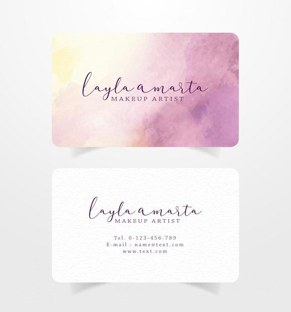 Cartão de visita com pinceladas de rosa e amarelo modelo aquarela Vetor Premium