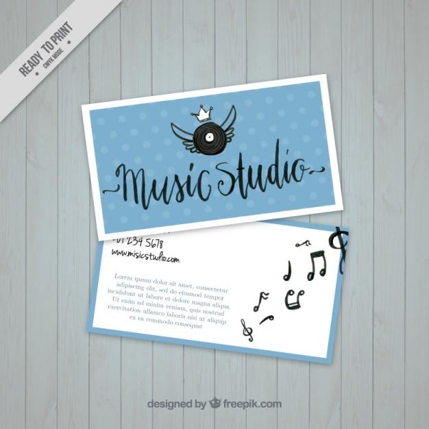 Cartão de visita com um vinil em um estúdio de música Vetor grátis