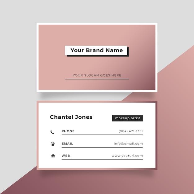 Cartão de visita cor-de-rosa elegante do ouro Vetor grátis